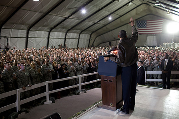 President Obama waves to U.S. troops at Bagram Air Field in Afghanistan in March 2010.