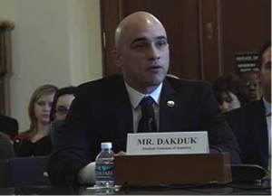Courtesy of the U.S. House of Representatives Committee on Veterans' Affairs Michael Dakduk, executive director of Student Veterans of America